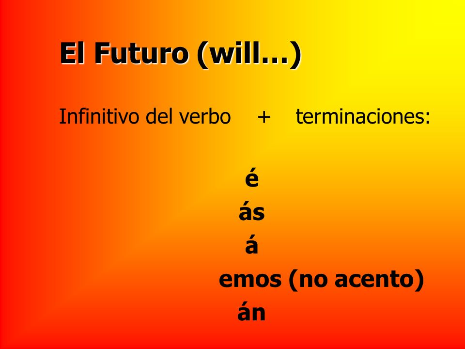 El Futuro (will…) Infinitivo del verbo + terminaciones: é ás á emos (no acento) án