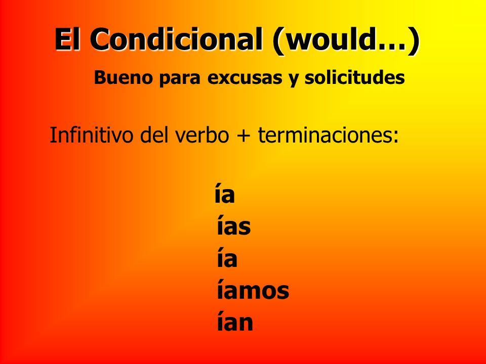 El Condicional (would…) Infinitivo del verbo + terminaciones: ía ías ía íamos ían Bueno para excusas y solicitudes