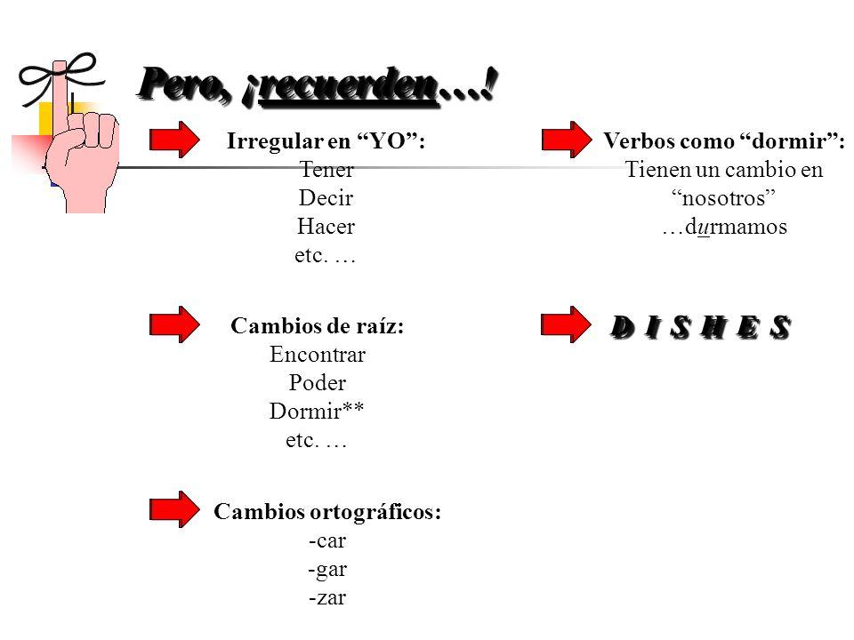 1.Empieza con la forma YO del presente 2.Quita la o 3.Usa las terminaciones opuestas 4.-AR:-e-emos -es -e-en 5.-ER / -IR:-a-amos -as -a-an ¿Cómo se fo