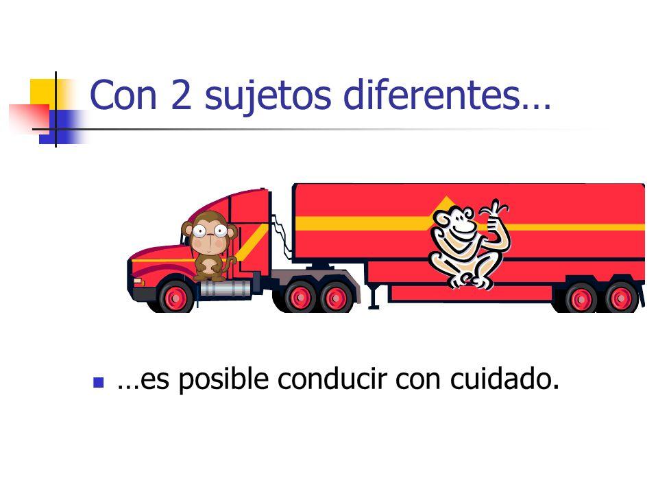 Con 2 sujetos diferentes… …es posible conducir con cuidado.
