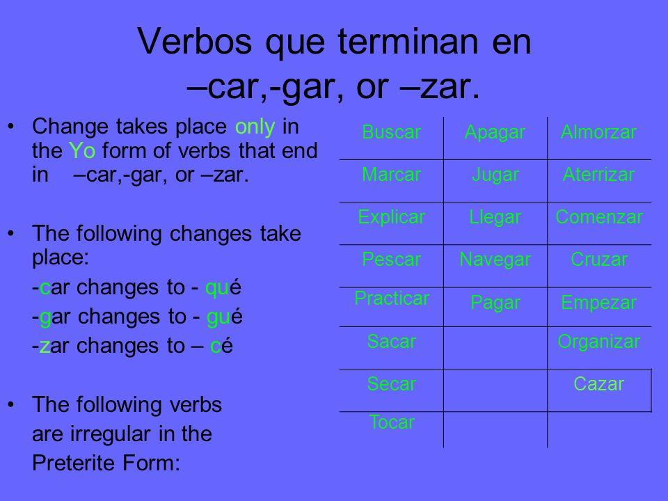 Verbos que terminan en –car,-gar, or –zar.