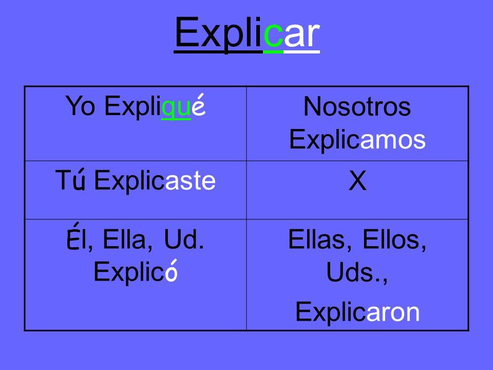 Explicar Yo Expliqu é Nosotros Explicamos T ú Explicaste X É l, Ella, Ud.