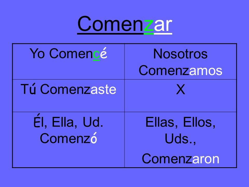 Comenzar Yo Comenc é Nosotros Comenzamos T ú Comenzaste X É l, Ella, Ud.