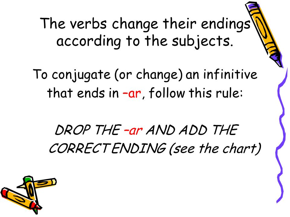 The verbs change their endings according to the subjects. To conjugate (or change) an infinitive that ends in –ar, follow this rule: DROP THE –ar AND