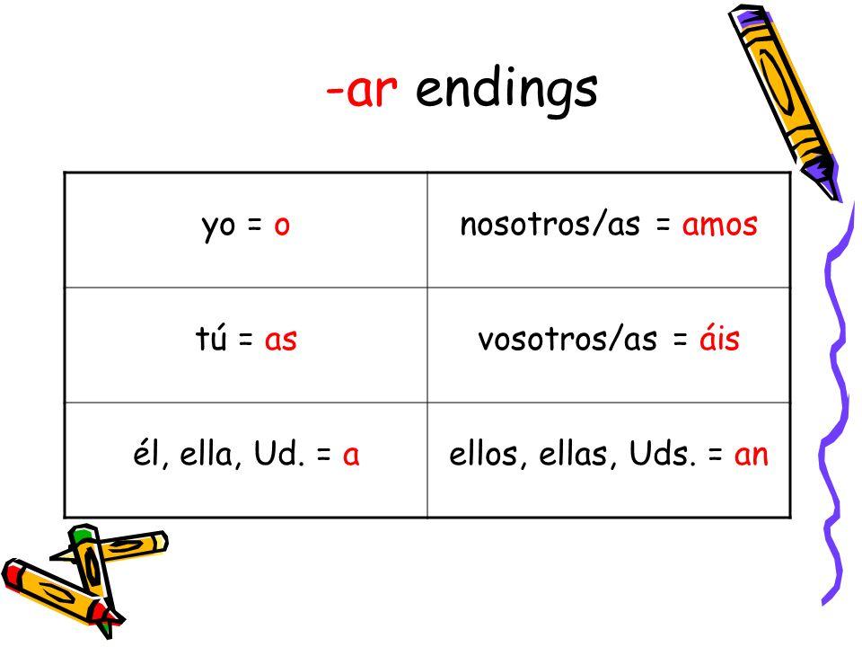 -ar endings yo = onosotros/as = amos tú = asvosotros/as = áis él, ella, Ud. = aellos, ellas, Uds. = an