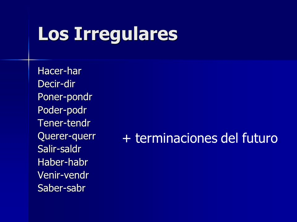 Los Irregulares Hacer-harDecir-dirPoner-pondrPoder-podrTener-tendrQuerer-querrSalir-saldrHaber-habrVenir-vendrSaber-sabr + terminaciones del futuro
