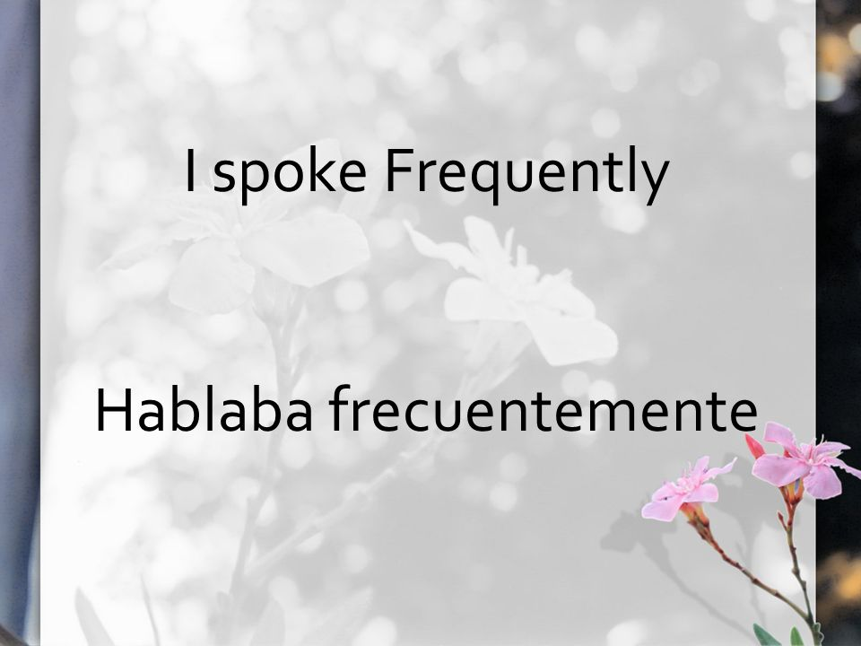 I spoke Frequently Hablaba frecuentemente