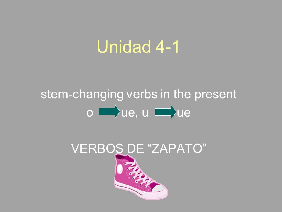 Unidad 4-1 stem-changing verbs in the present o ue, u ue VERBOS DE ZAPATO