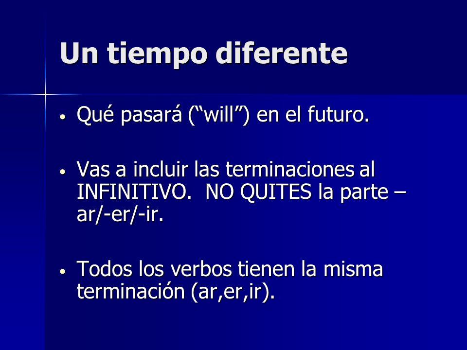 Un tiempo diferente Qué pasará (will) en el futuro. Qué pasará (will) en el futuro. Vas a incluir las terminaciones al INFINITIVO. NO QUITES la parte