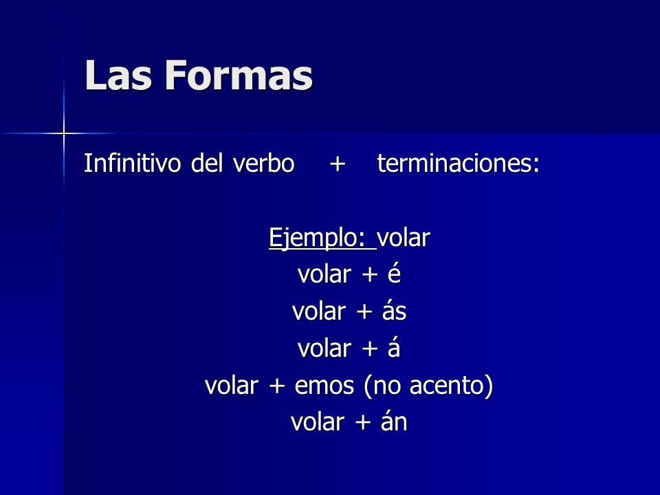 Las Formas Infinitivo del verbo + terminaciones: Ejemplo: volar volar + é volar + ás volar + á volar + emos (no acento) volar + án