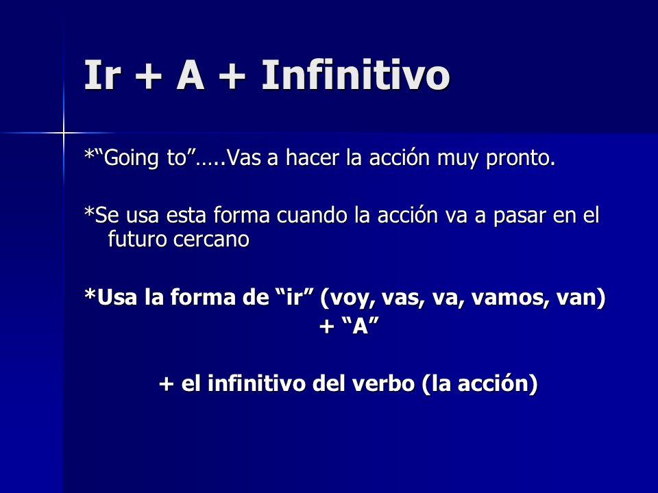 Ir + A + Infinitivo *Going to…..Vas a hacer la acción muy pronto. *Se usa esta forma cuando la acción va a pasar en el futuro cercano *Usa la forma de