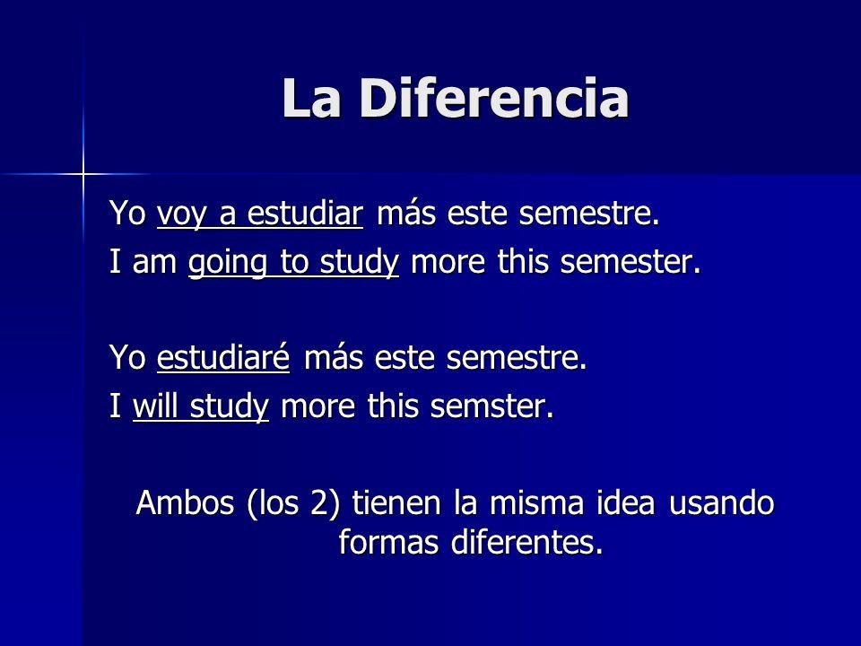 La Diferencia Yo voy a estudiar más este semestre. I am going to study more this semester. Yo estudiaré más este semestre. I will study more this sems