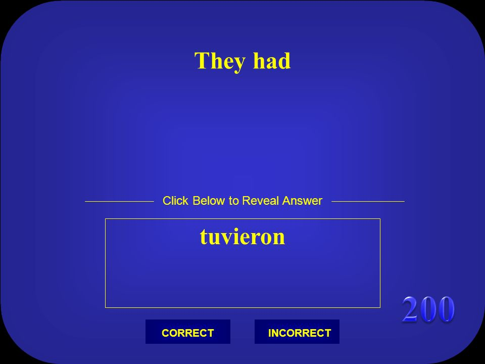 They had tuvieron Click Below to Reveal Answer INCORRECTCORRECT