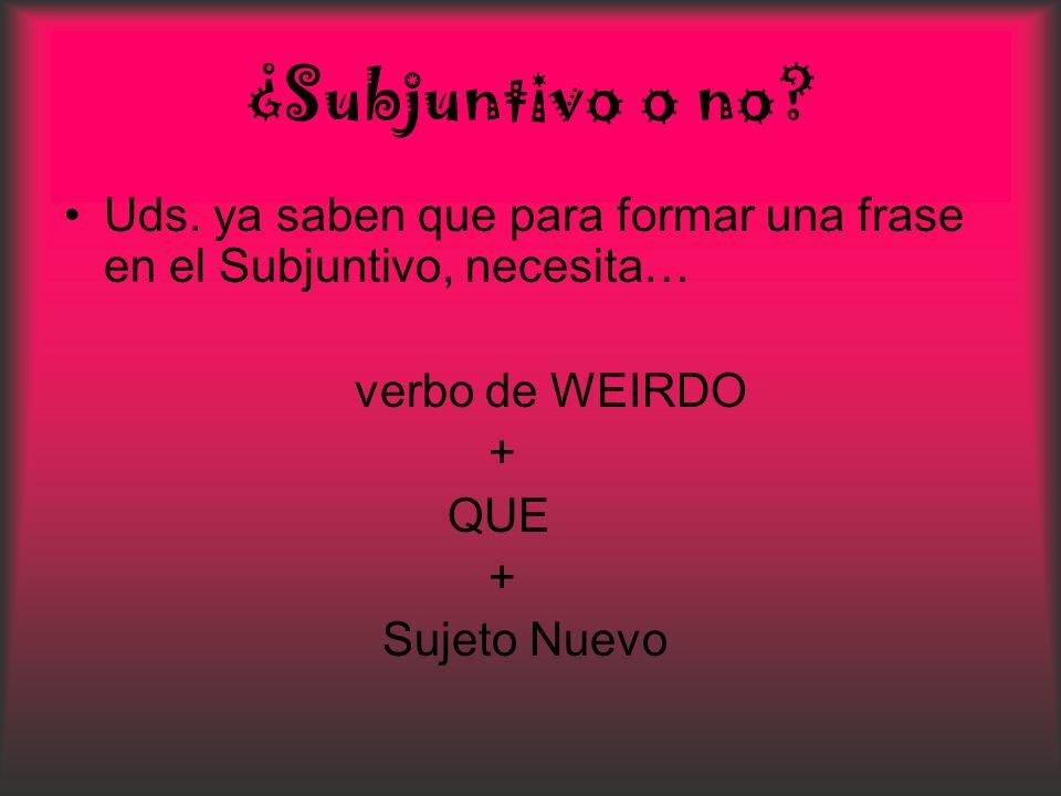¿Subjuntivo o no? Uds. ya saben que para formar una frase en el Subjuntivo, necesita… verbo de WEIRDO + QUE + Sujeto Nuevo