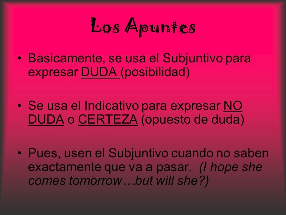 Los Apuntes Basicamente, se usa el Subjuntivo para expresar DUDA (posibilidad) Se usa el Indicativo para expresar NO DUDA o CERTEZA (opuesto de duda)