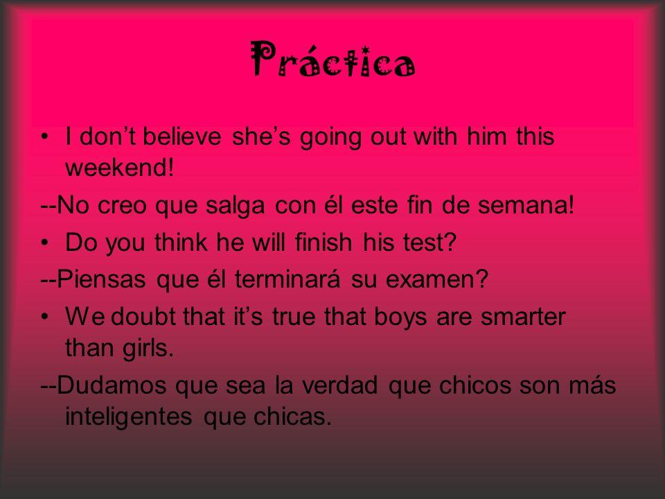 Práctica I dont believe shes going out with him this weekend! --No creo que salga con él este fin de semana! Do you think he will finish his test? --P