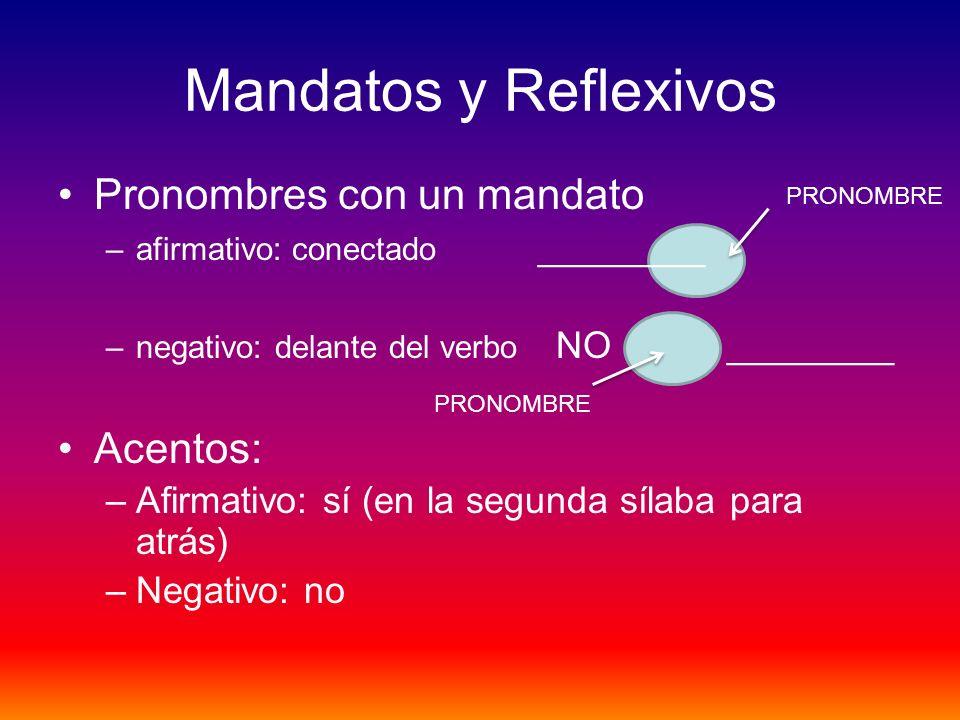 Mandatos y Reflexivos Pronombres con un mandato –afirmativo: conectado ________ –negativo: delante del verbo NO ________ Acentos: –Afirmativo: sí (en