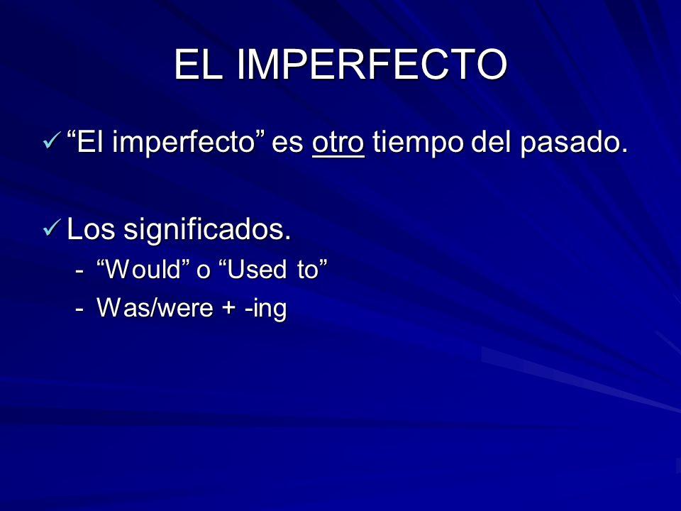 EL IMPERFECTO El imperfecto es otro tiempo del pasado. El imperfecto es otro tiempo del pasado. Los significados. Los significados. -Would o Used to -