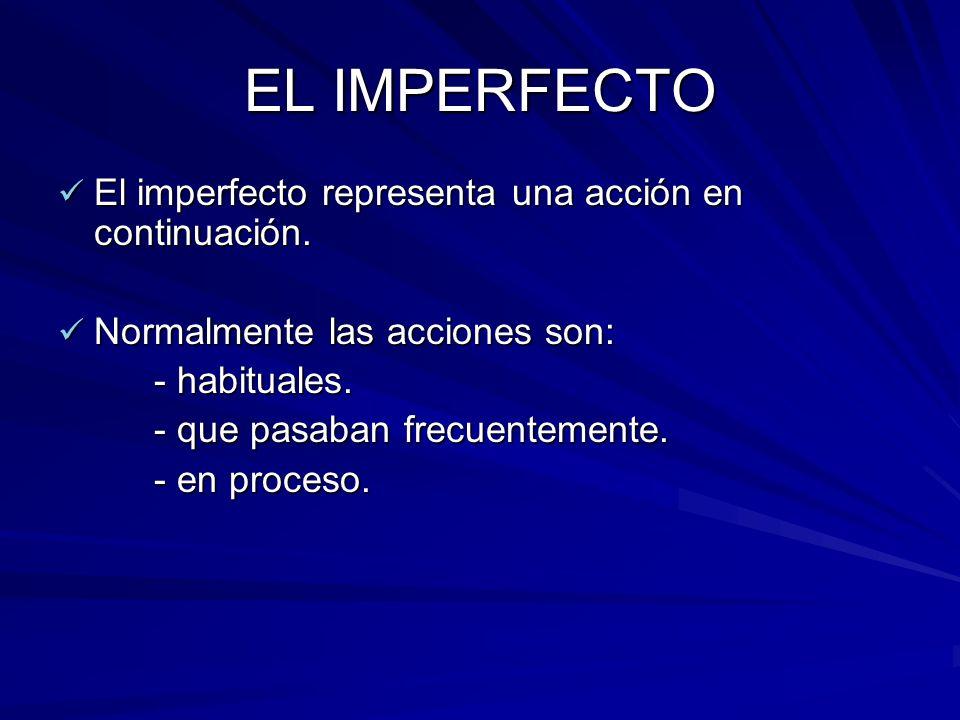 EL IMPERFECTO El imperfecto representa una acción en continuación. El imperfecto representa una acción en continuación. Normalmente las acciones son: