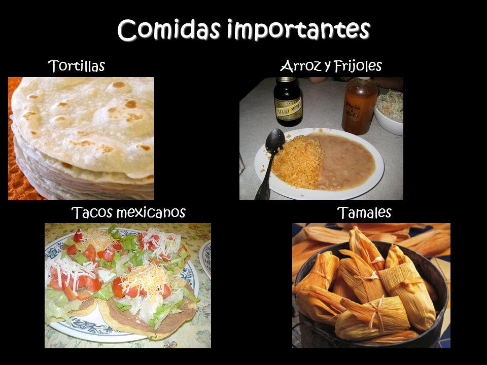 Comidas importantes Tortillas Arroz y Frijoles Tacos mexicanos Tamales