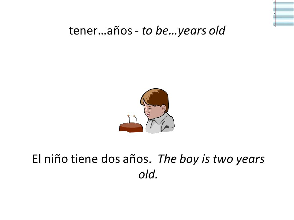 Tener Idioms In Spanish there are many idioms or expressions that start with the verb tener. – tener…años – tener calor – tener ganas de + infinitive