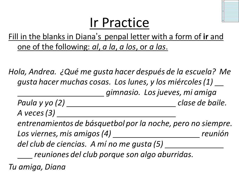 Practice Write a sentence using the information provided. 1.Juan 2.Yo 3.Marisol y yo 4.Usted 5.Antonio y Carlitos Juan juega al básquetbol. Yo juego a