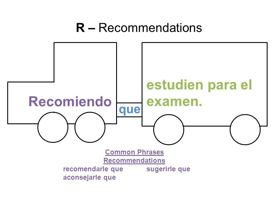 que Recomiendo estudien para el examen. R – Recommendations Common Phrases Recommendations recomendarle quesugerirle que aconsejarle que