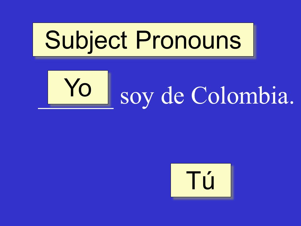Subject Pronouns ______ soy de Colombia. Tú Yo