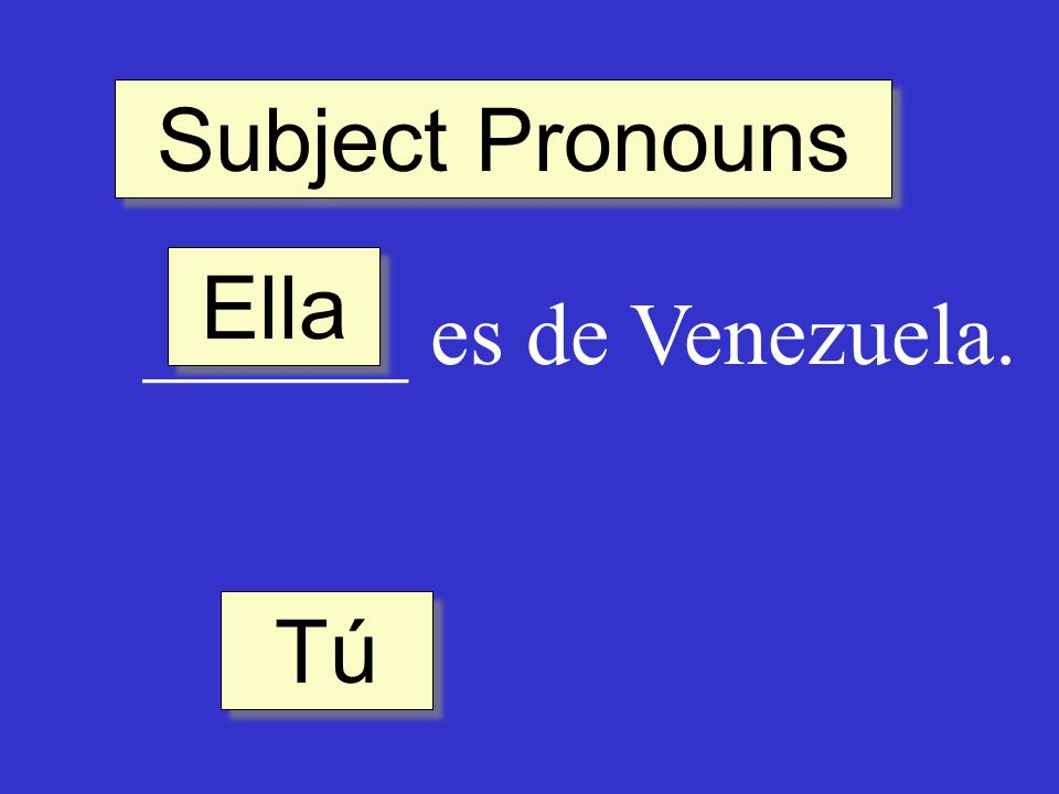 Subject Pronouns ______ es de Venezuela. Ella Tú