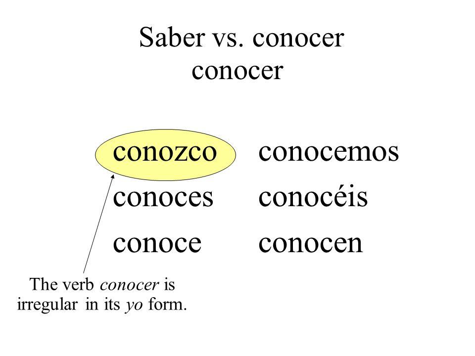 conozco conoces conoce conocemos conocéis conocen The verb conocer is irregular in its yo form. Saber vs. conocer conocer
