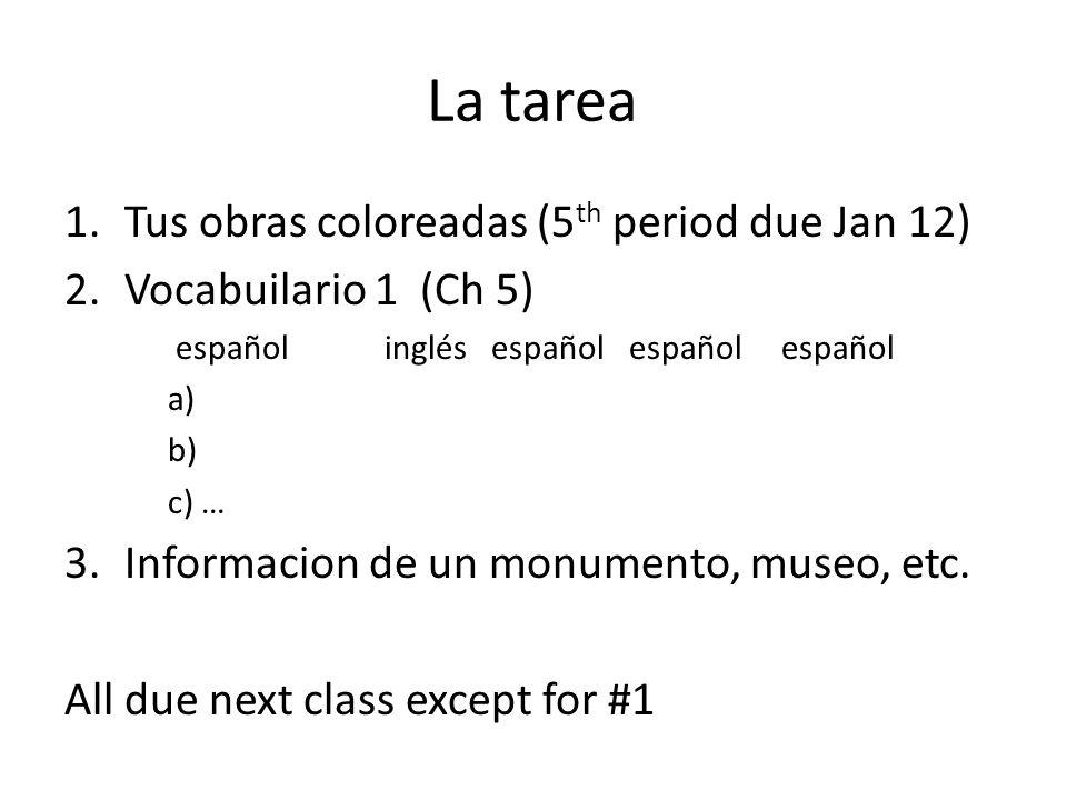 La tarea 1.Tus obras coloreadas (5 th period due Jan 12) 2.Vocabuilario 1 (Ch 5) español inglés español español español a) b) c) … 3.Informacion de un