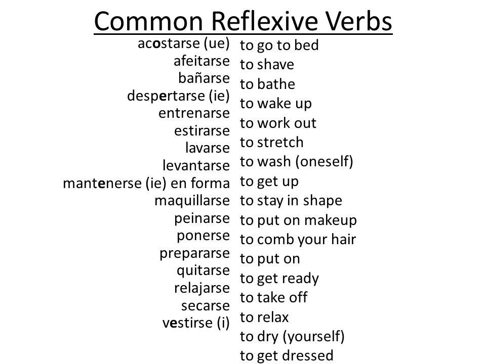 Common Reflexive Verbs acostarse (ue) afeitarse bañarse despertarse (ie) entrenarse estirarse lavarse levantarse mantenerse (ie) en forma maquillarse