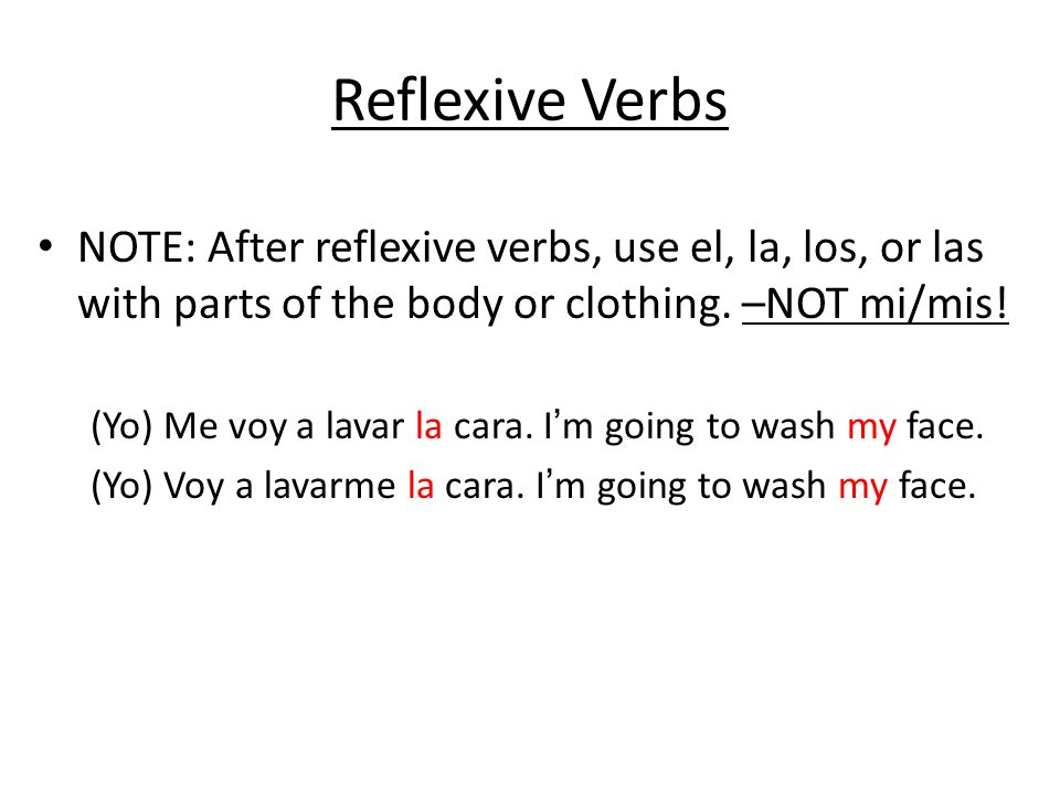 Reflexive Verbs Practice Conjugate the verb in parenthesis for each blank.