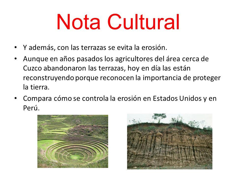 Nota Cultural Y además, con las terrazas se evita la erosión. Aunque en años pasados los agricultores del área cerca de Cuzco abandonaron las terrazas
