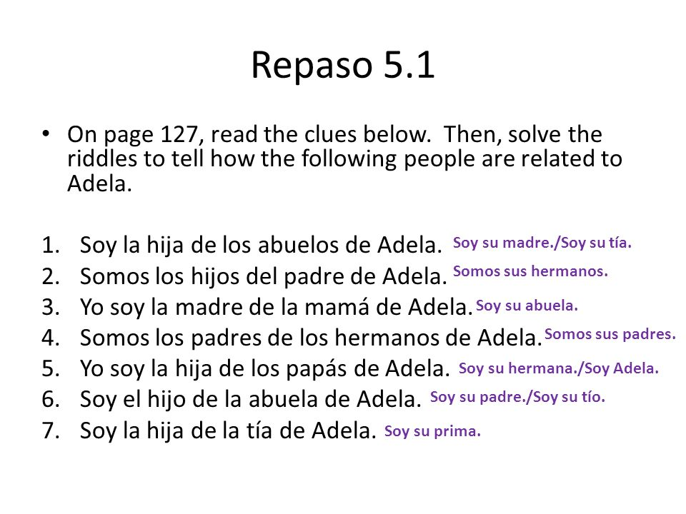 Repaso 5.1 On page 127, read the clues below. Then, solve the riddles to tell how the following people are related to Adela. 1.Soy la hija de los abue