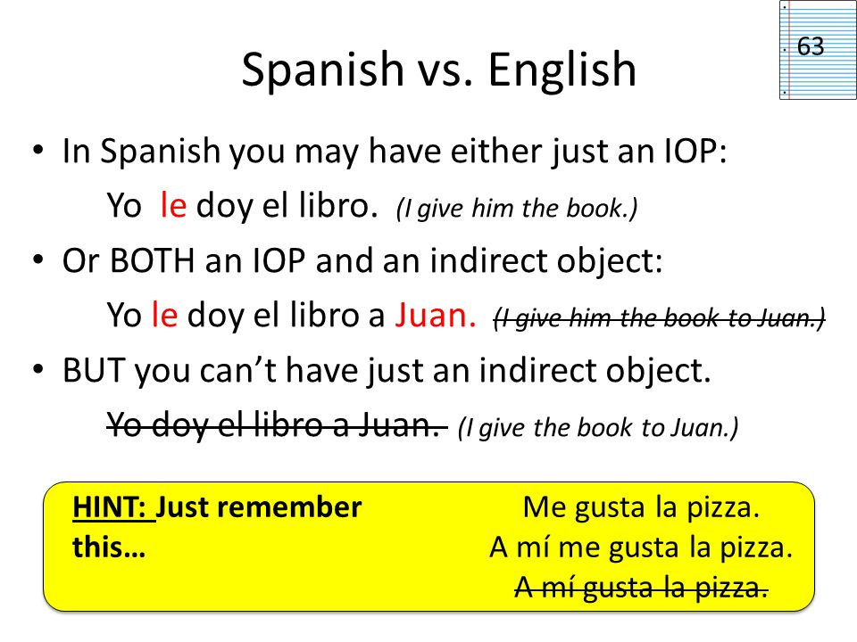 Spanish vs. English In Spanish you may have either just an IOP: Yo le doy el libro. (I give him the book.) Or BOTH an IOP and an indirect object: Yo l