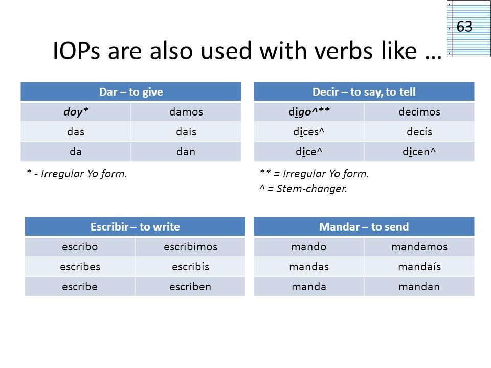 IOPs are also used with verbs like … 63 Mandar – to send mandomandamos mandasmandaís mandamandan Dar – to give doy*damos dasdais dadan Escribir – to w