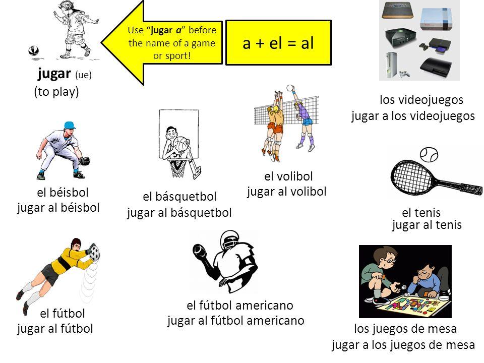 jugar (ue) (to play) jugar al béisbol el béisbol jugar al fútbol el fútbol jugar al básquetbol el básquetbol jugar al fútbol americano el fútbol ameri
