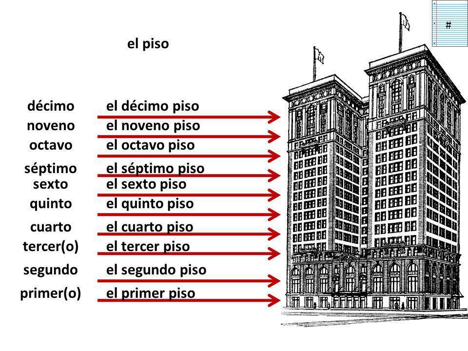 el piso primer(o) segundo tercer(o) cuarto quinto sexto séptimo octavo noveno décimo el primer piso el segundo piso el tercer piso el cuarto piso el quinto piso el sexto piso el séptimo piso el octavo piso el noveno piso el décimo piso #