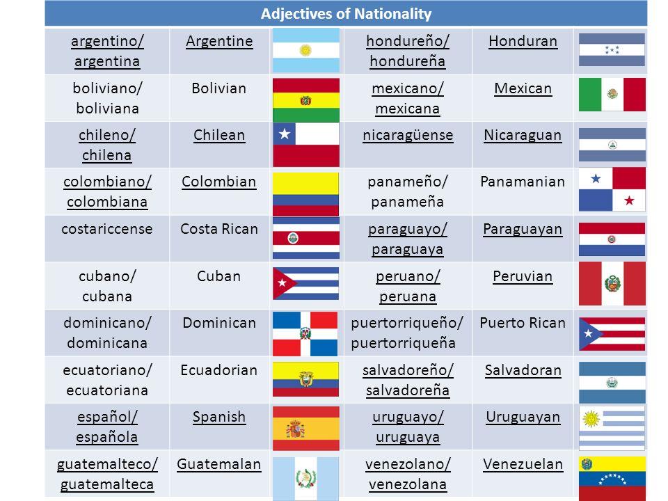 Adjectives of Nationality argentino/ argentina Argentinehondureño/ hondureña Honduran boliviano/ boliviana Bolivianmexicano/ mexicana Mexican chileno/