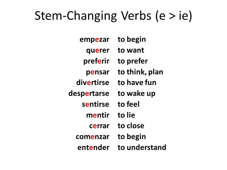Stem-ChangingVerbs (e > ie) Stem-Changing Verbs (e > ie) empezar querer preferir pensar divertirse despertarse sentirse mentir cerrar comenzar entende