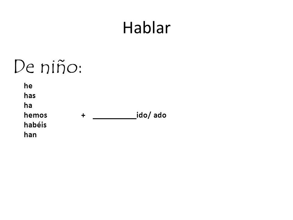 Hablar De niño: he has ha hemos + ___________ido/ ado habéis han 4.