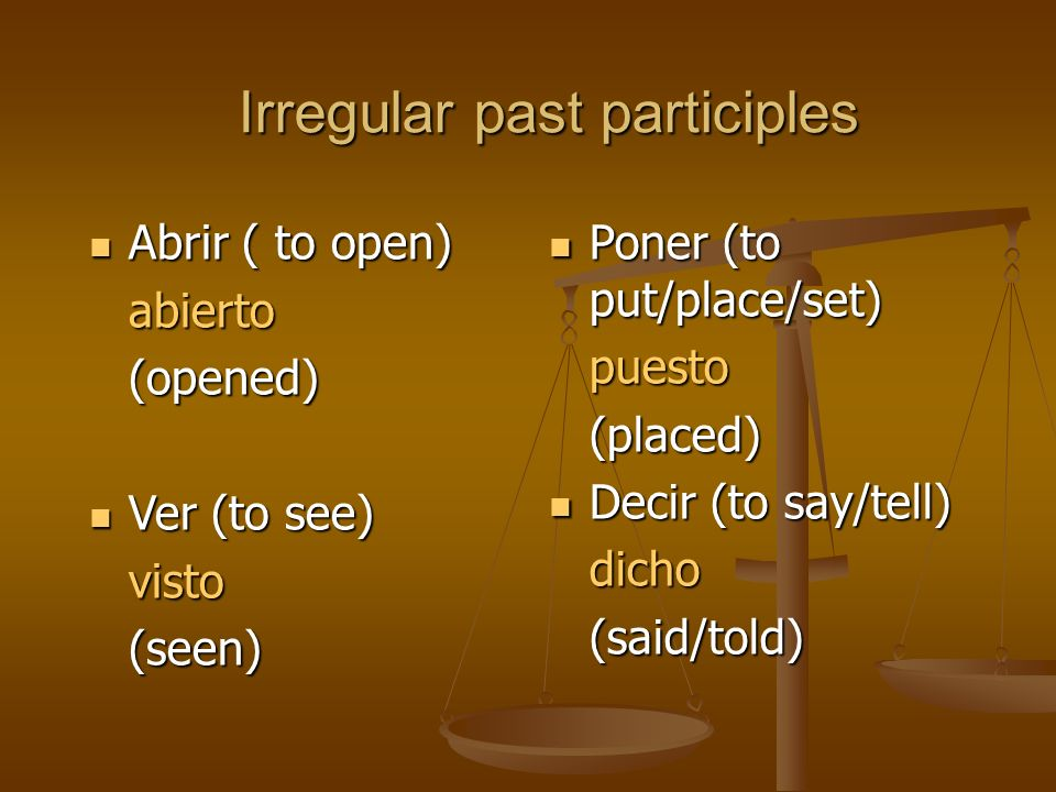 Irregular past participles Cubrir ( to cover) Cubrir ( to cover)cubierto(covered) Escribir (to write) Escribir (to write)escrito(written)