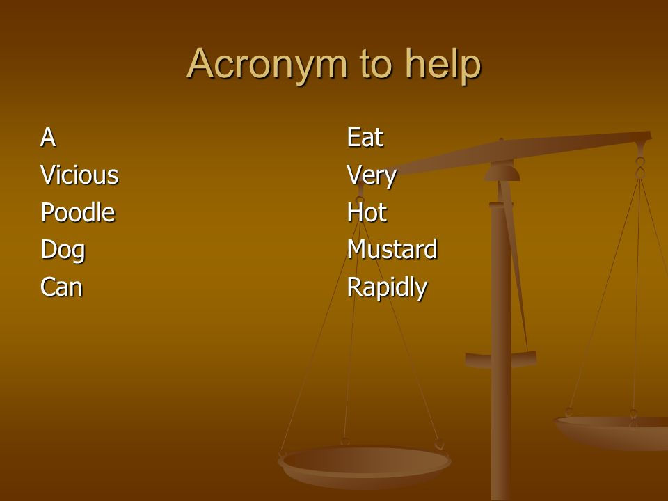 Acronym to help AViciousPoodleDogCan Eat Very Hot Mustard Rapidly