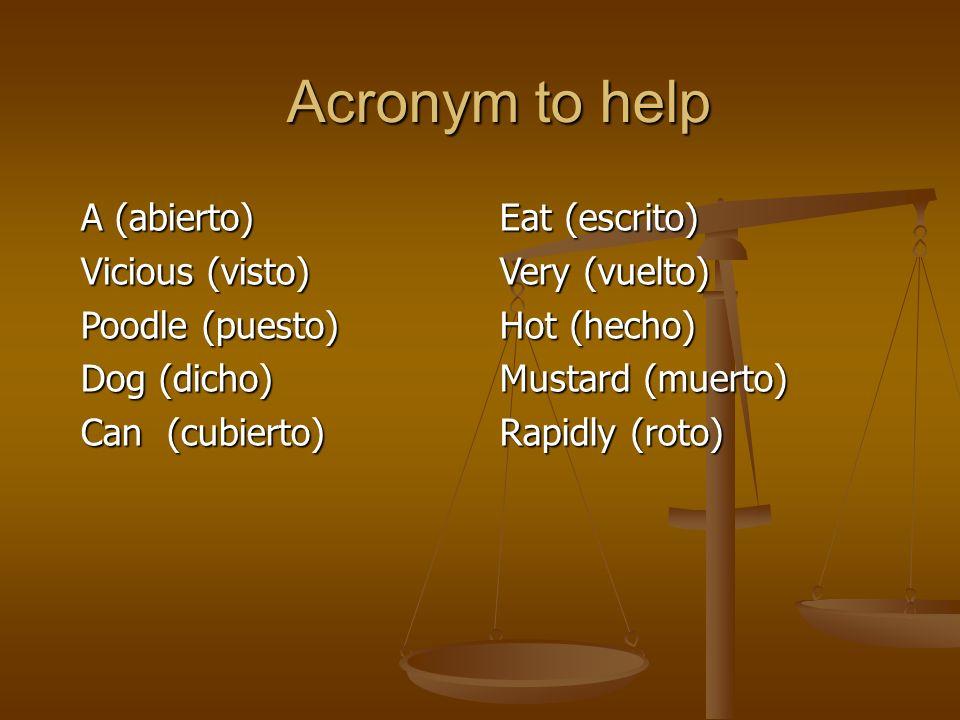Acronym to help A (abierto) Vicious (visto) Poodle (puesto) Dog (dicho) Can (cubierto) Eat (escrito) Very (vuelto) Hot (hecho) Mustard (muerto) Rapidly (roto)