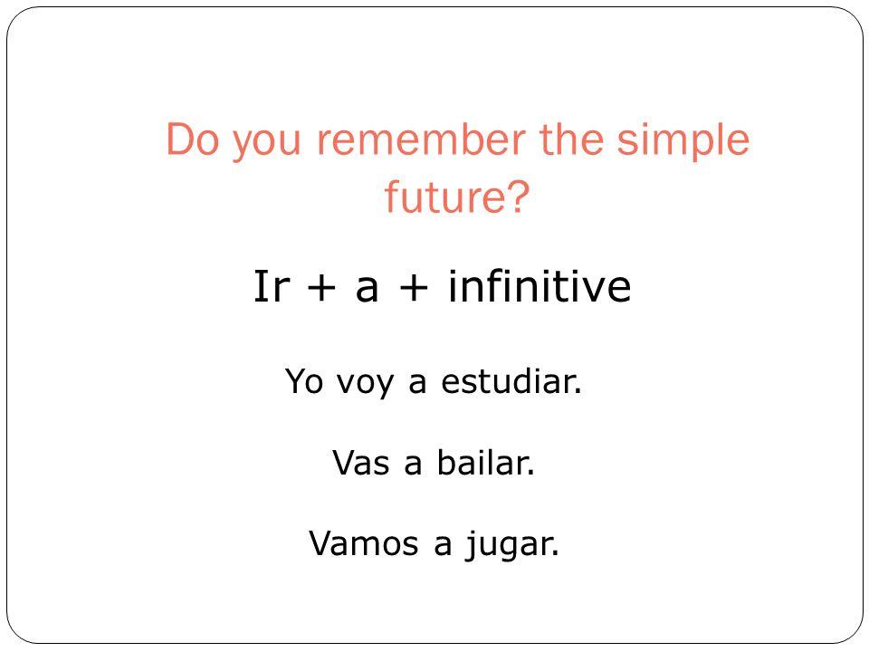Do you remember the simple future? Ir + a + infinitive Yo voy a estudiar. Vas a bailar. Vamos a jugar.