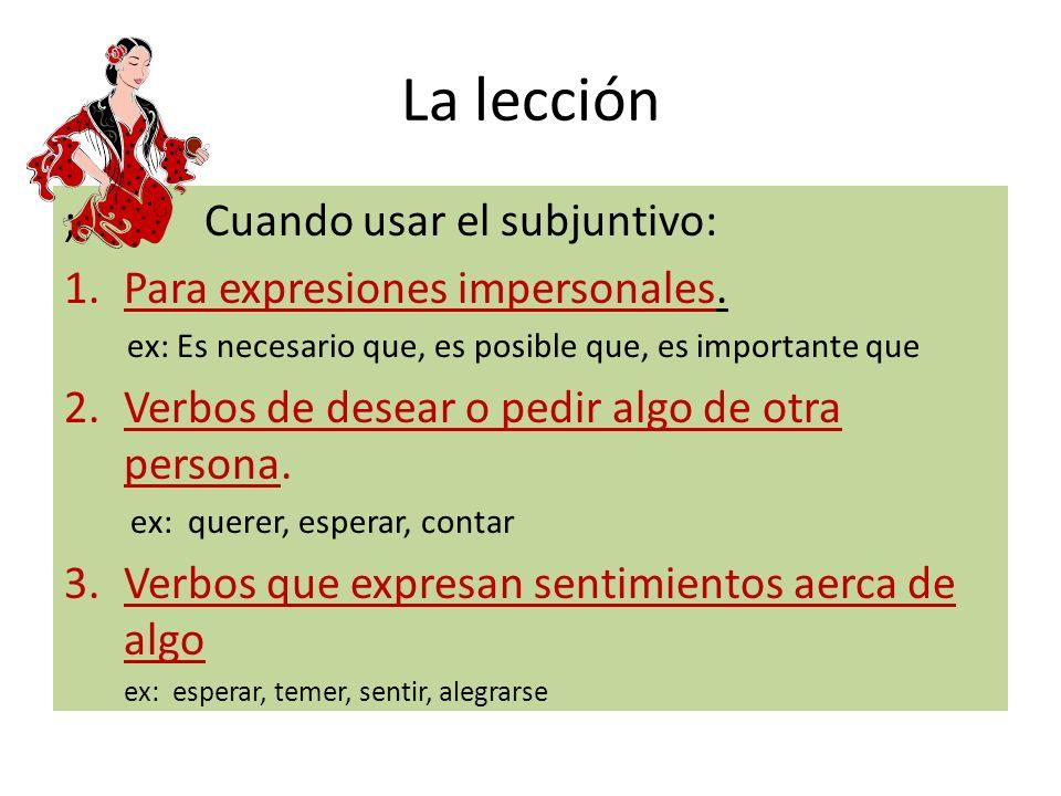 La lección Cómo formar el subjuntivo: mandato formal I.