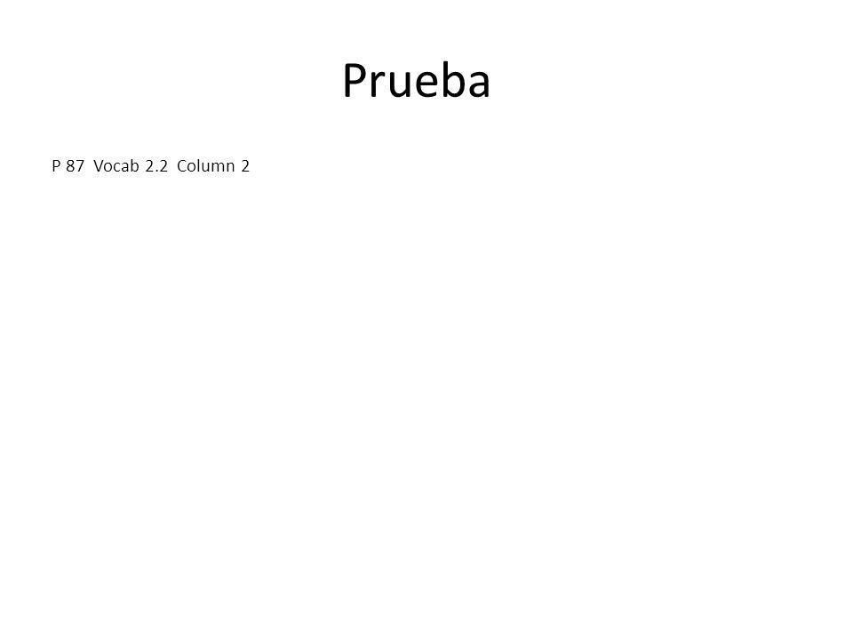 Prueba P 87 Vocab 2.2 Column 2