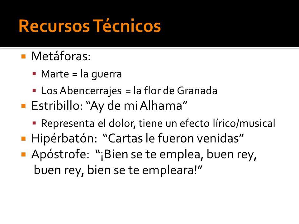 Metáforas: Marte = la guerra Los Abencerrajes = la flor de Granada Estribillo: Ay de mi Alhama Representa el dolor, tiene un efecto lírico/musical Hip