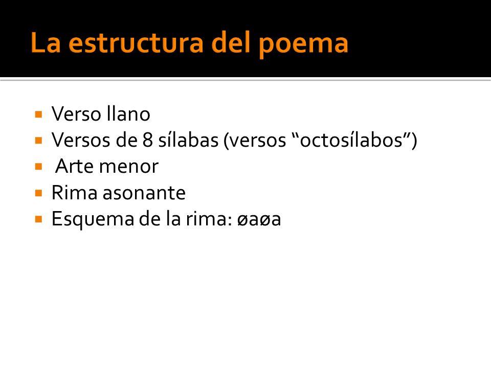 Verso llano Versos de 8 sílabas (versos octosílabos) Arte menor Rima asonante Esquema de la rima: øaøa